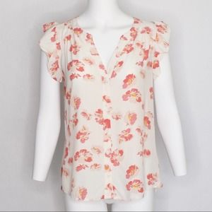 Sanctuary Cream Pink Floral Ruffle Blouse Small